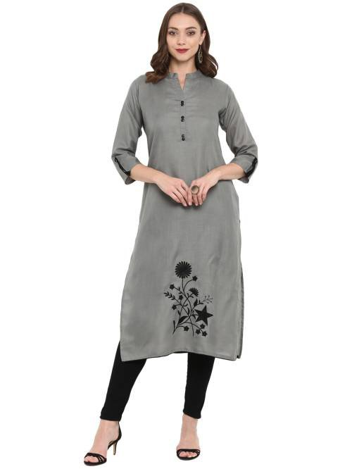 Grey Cotton Blend Embroidered Knee Length Straight Kurti
