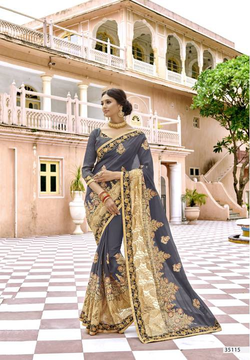 Craftsvilla Grey Georgette Embroidered Designer Saree With Unstitched Blouse Material