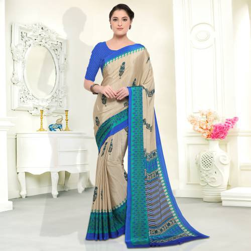 Beige Color Crepe Printed Traditional Saree With Unstiitched Blouse Material