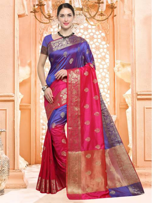 Craftsvilla Blue And Pink Color Silk Textured Traditional Saree