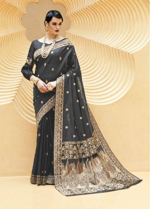 Craftsvilla Black Banarasi Silk Zari Thread Work Designer Saree With Unstitched Blouse Material