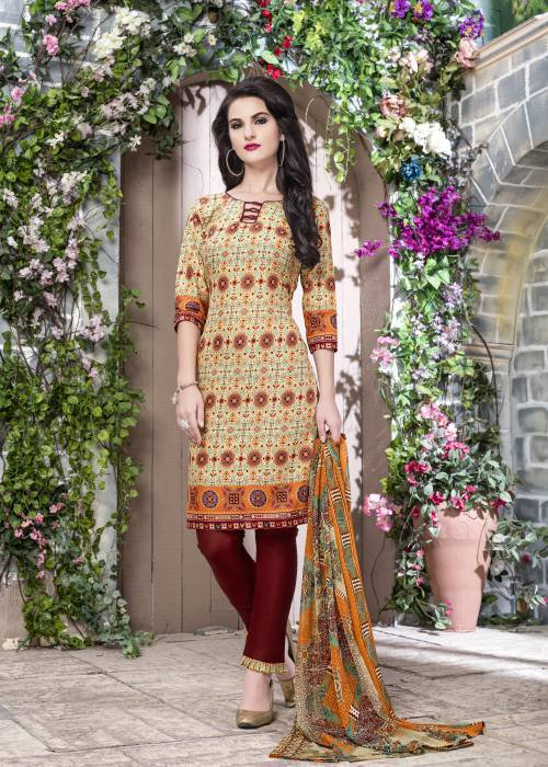 Beige Color Cotton Printed Unstitched Traditional Straight Suit