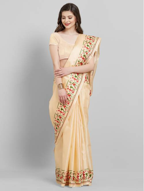 Beige Art Silk Plain Saree With Unstitched Blouse Material