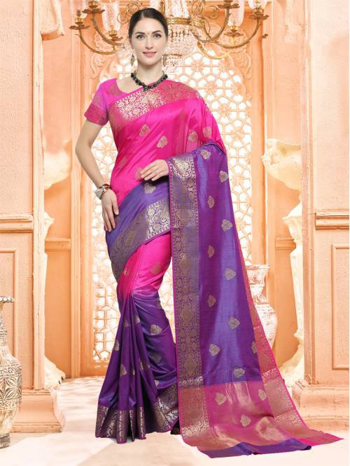 Craftsvilla Pink And Purple Color Silk Textured Traditional Saree