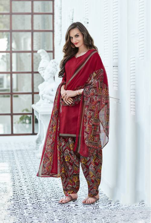 Craftsvilla Maroon Color Cotton Blend Plain Unstitched Straight Suit