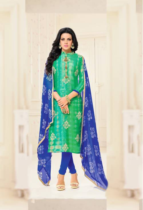 Craftsvilla Green Color Chanderi Embroidered Straight Suit With Printed Dupatta