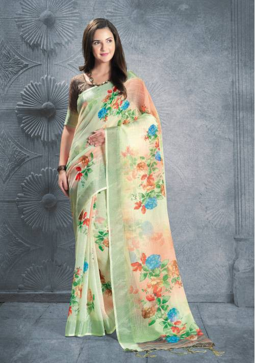 Green Linen Digital Printed Designer Saree With Unstitched Blouse Material