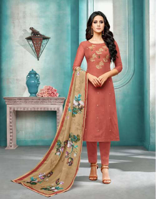 Craftsvilla Orange Masline Silk Embroidered Semi-stitched Salwar Suit