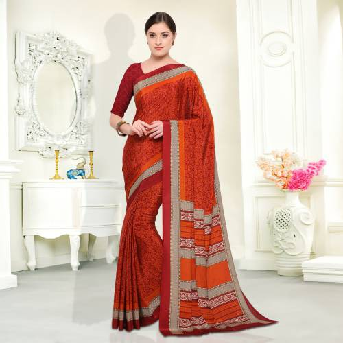 Maroon And Orange Color Crepe Printed Traditional Saree With Unstiitched Blouse Material