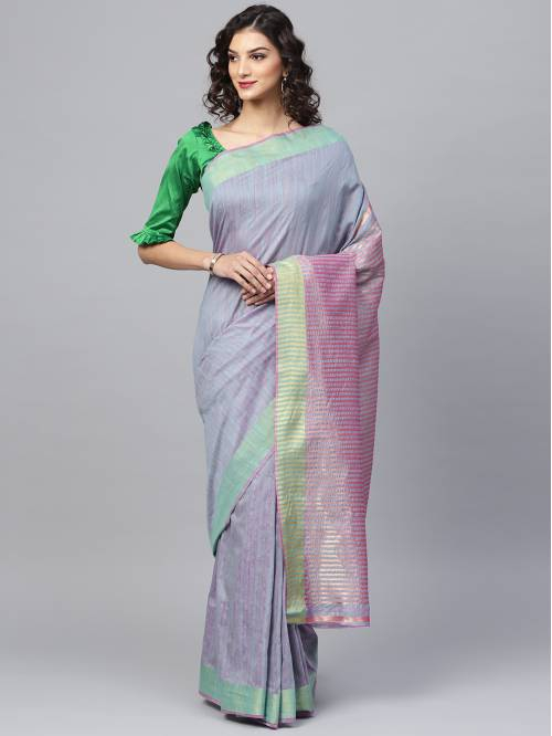 Craftsvilla Purple Plain Silk Blend Designer Saree With Unstitched Blouse Material