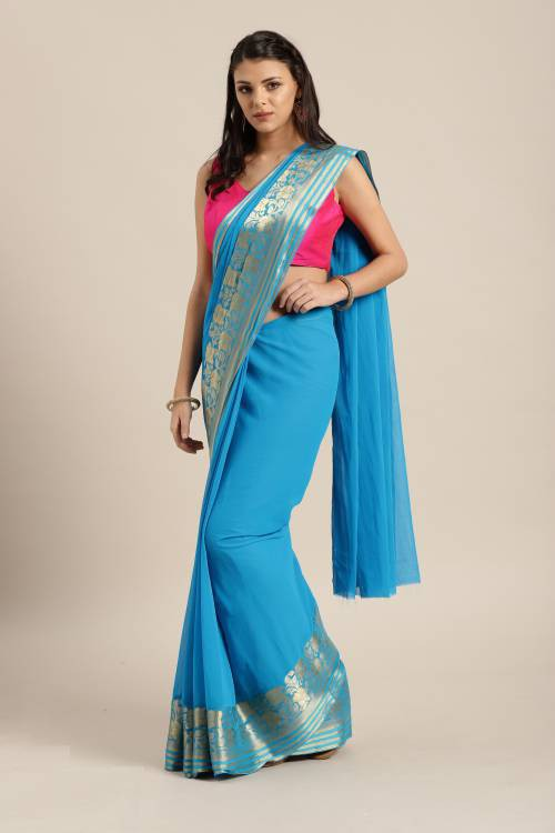 Blue Georgette Thread Work Saree With Unstitched Blouse Material