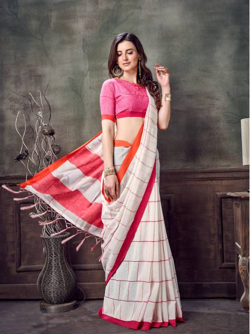 Craftsvilla Off White Linen Plain Handloom Saree With Unstitched Blouse Material