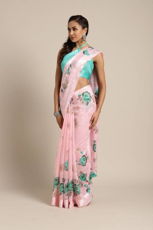 Pink Linen Designer Printed Saree With Unstitched Blouse Material