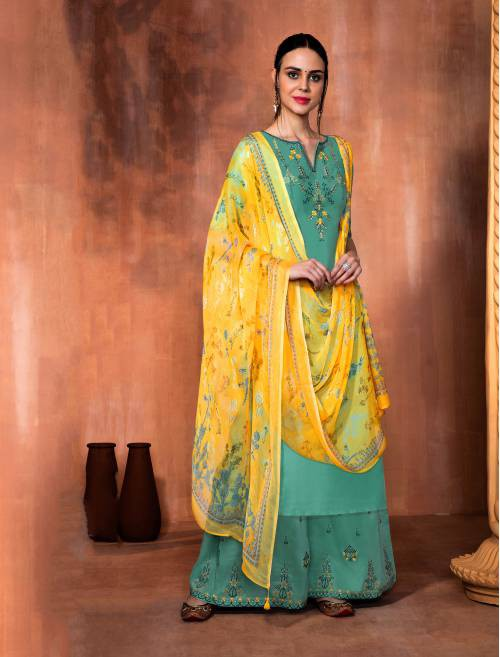 Craftsvilla Green Muslin Silk Embroidered Unstitched Palazzo Suit
