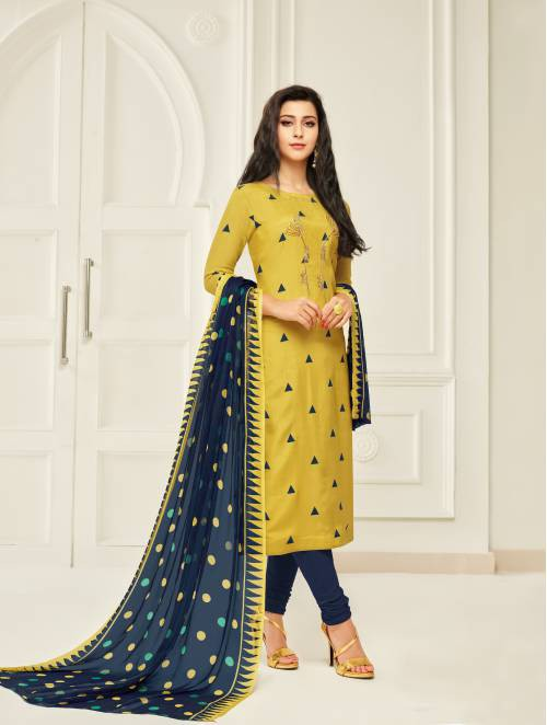 Yellow Chanderi Cotton  Embroidered Unstitched Churidar Suit
