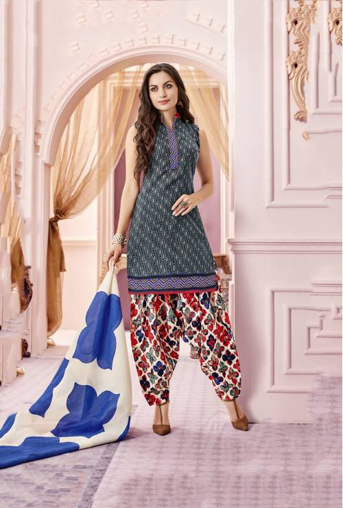 Craftsvilla Grey And Black Color Cotton Blend Printed Unstitched Straight Suit