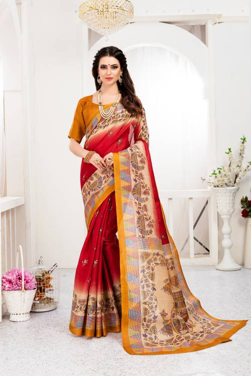 Craftsvilla Red Color Khadi Silk Printed Traditional Saree With Unstitched Blouse Material