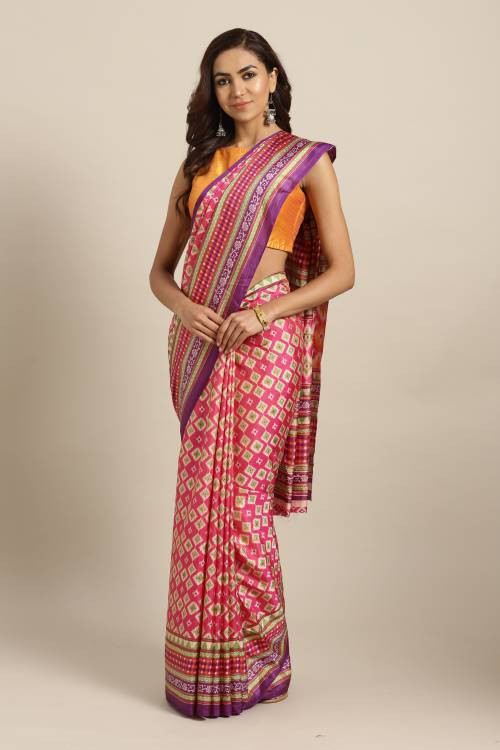 Pink Silk Blend Printed Dual Tone Saree With Blouse Piece