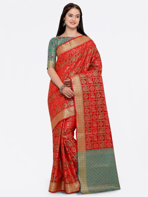 Red Banarasi Silk Thread Work Designer Saree With Unstitched Blouse Material