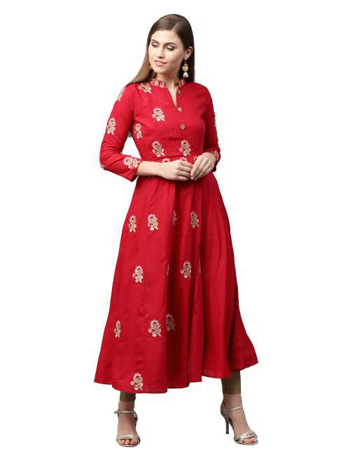 Red Cotton Blend Embroidered A Line Style Kurti