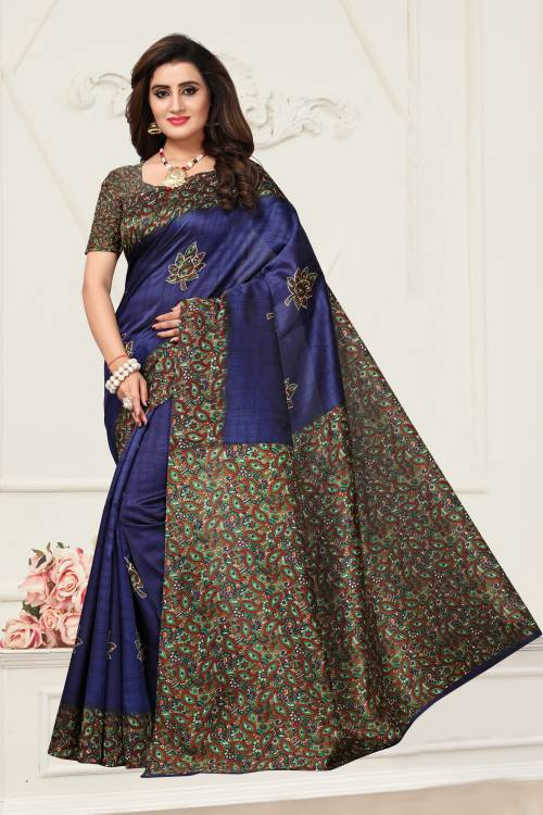 Craftsvilla Navy Color Art Silk Printed Traditional Saree With Unstitched Blouse Material