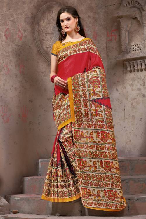 Craftsvilla Red Silk Blend Madhubani Printed Traditional Saree With Unstitched Blouse Material