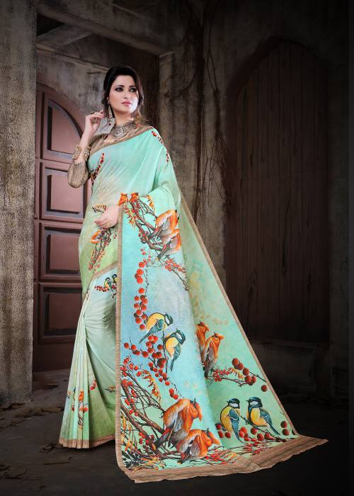 Green Color Muslin Floral Printed Saree