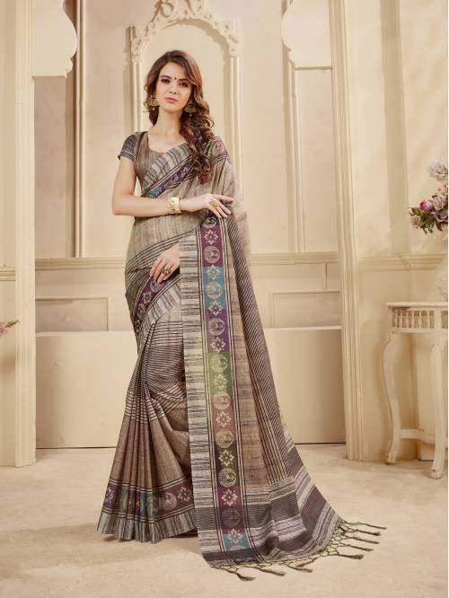 Beige Manipuri Silk Digital Printed Saree With Unstitched Blouse Material