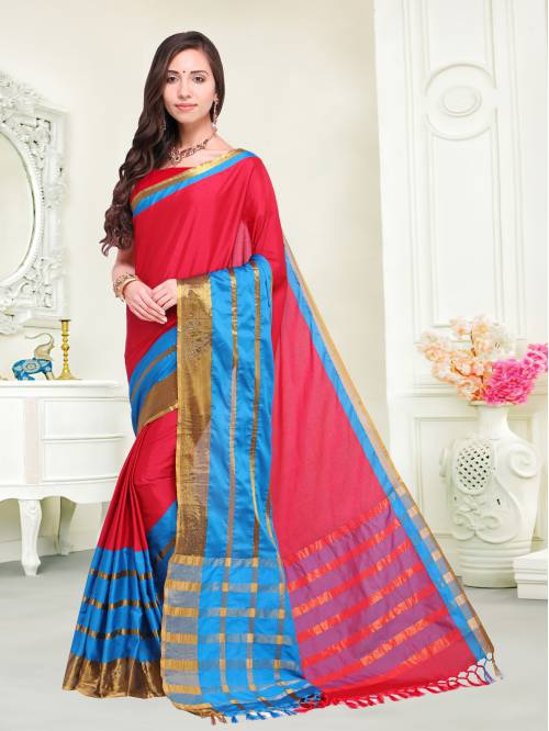 Craftsvilla Pink Color Cotton Silk Zari Work Traditional Saree With Unstitched Blouse Material