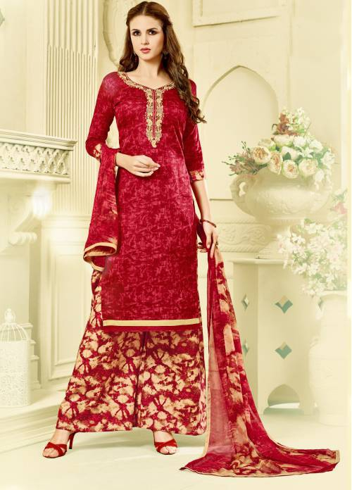 Craftsvilla Red Embroidered Party Wear Plazzo Abstract Print Dress Material With Matching Dupatta