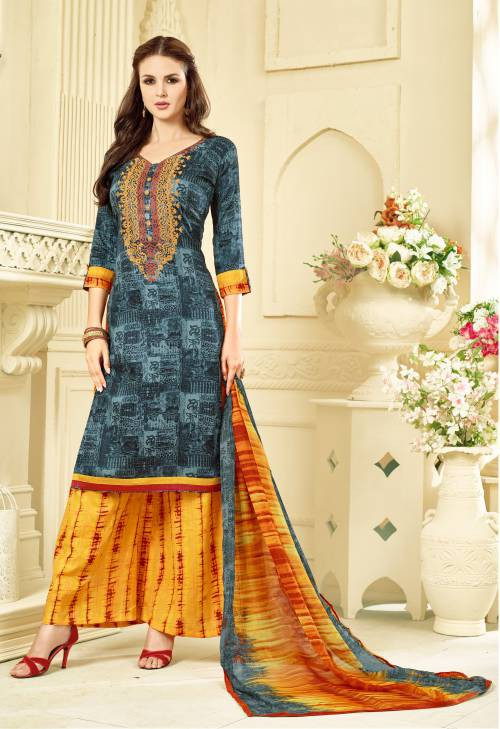 Craftsvilla Grey Embroidered Party Wear Plazzo Floral Dress Material With Matching Dupatta
