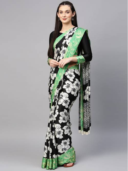 Black Crepe Printed Party Wear Saree With Unstitched Blouse Material