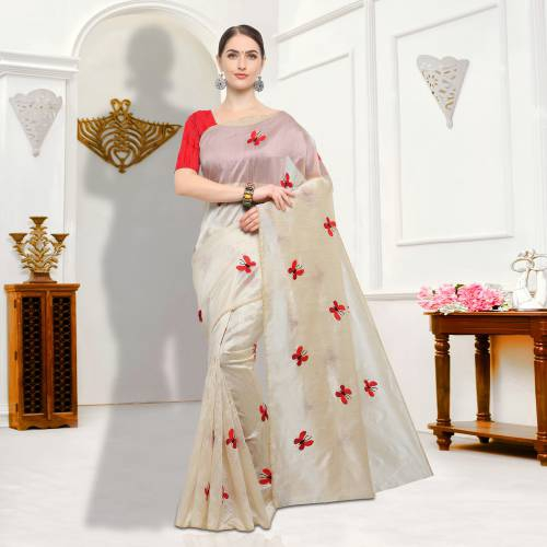 Beige And Orange Color Bhagalpuri Silk Embroidered Designer Saree
