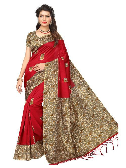 Craftsvilla Red Color Art Silk Printed Partywear Saree With Unstitched Blouse