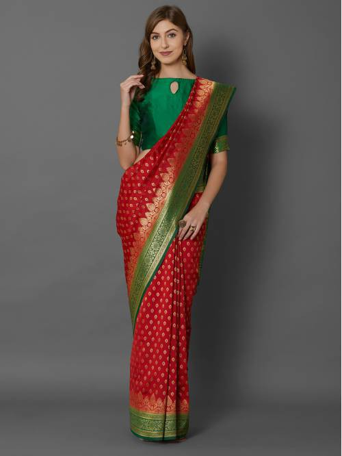 Red Silk Blend Traditional  Woven Saree With Unstitched Blouse Material