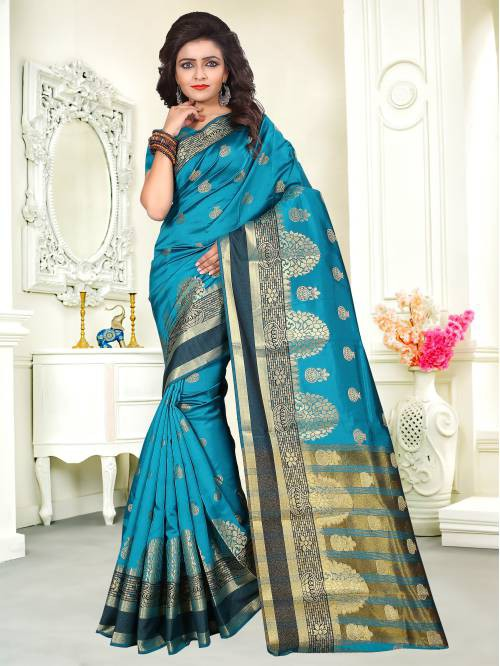 Craftsvilla Sky Blue Color Art Silk Thread Work Contemporary Saree With Unstitched Blouse Material