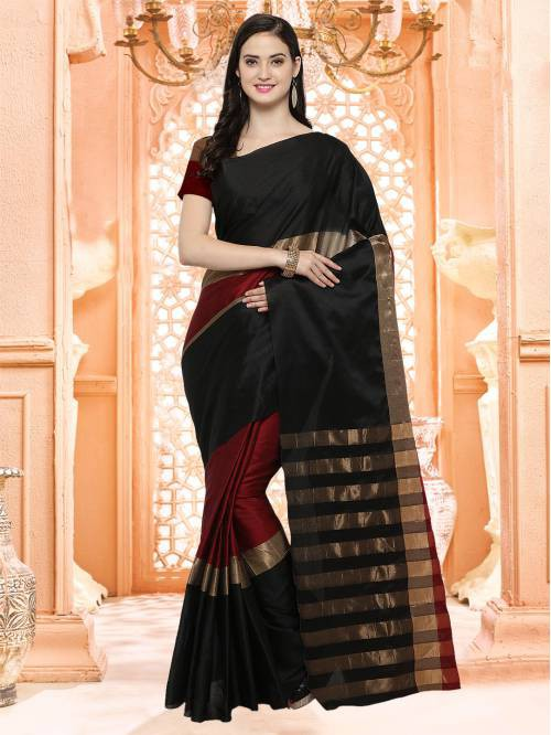 Craftsvilla Black Color Silk Blend Textured Designer Saree