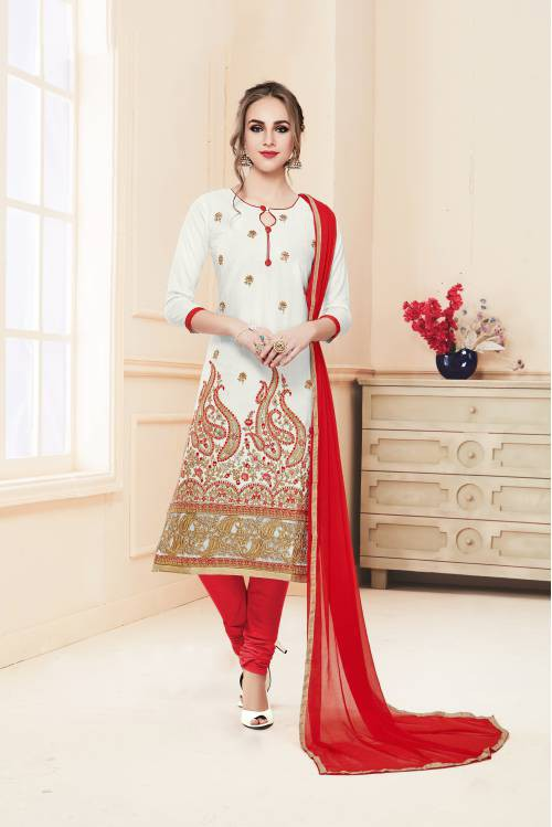 White Cotton Blend Embroidered Straight Churidar Suit