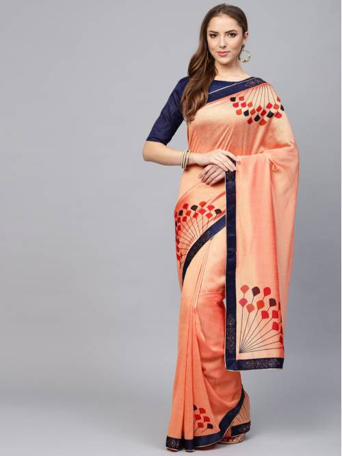 Craftsvilla Peach Orange Silk Blend Lace Border Designer Saree With Unstitched Blouse Material