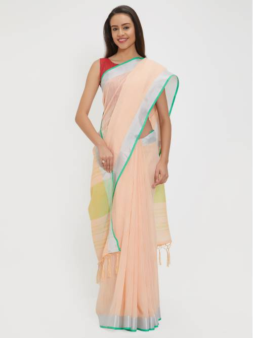 Craftsvilla Peach Poly Linen Woven Traditional Saree With Two Unstitched Blouse Material
