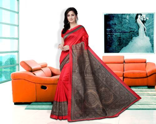 Red Color Lichi Silk Geometric Printed Traditional Saree