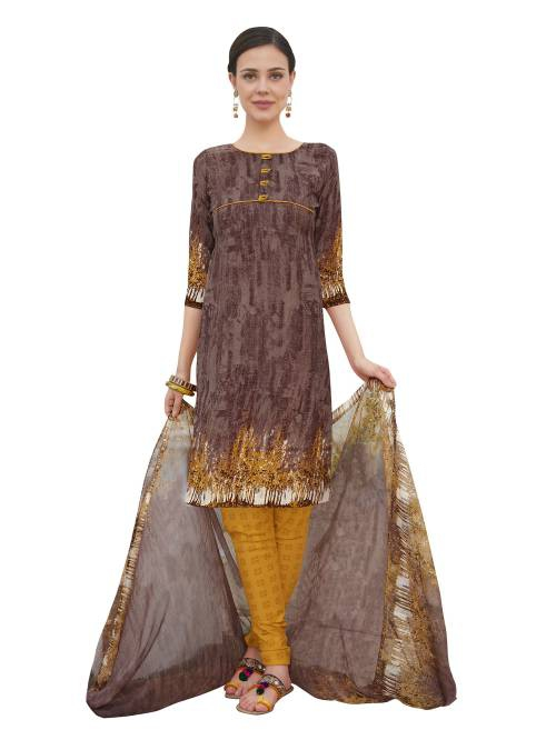 Craftsvilla Brown Color Crepe Printed Unstitched Straight Suit