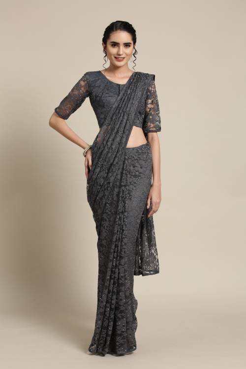 Grey Net Saree With Unstitched Blouse Material