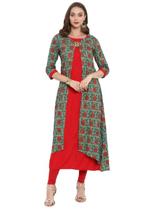 Red Cotton Blend Printed Calf Length A Line Style Kurti
