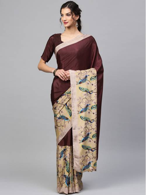 Craftsvilla Brown Crepe Printed Designer Saree With Unstitched Blouse Material
