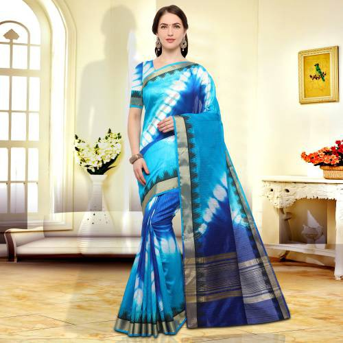 Blue Color Silk Blend Textured Traditional Saree