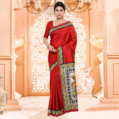 Red Casual Bhagalpuri Silk Animal Print Saree With Unstitched Blouse