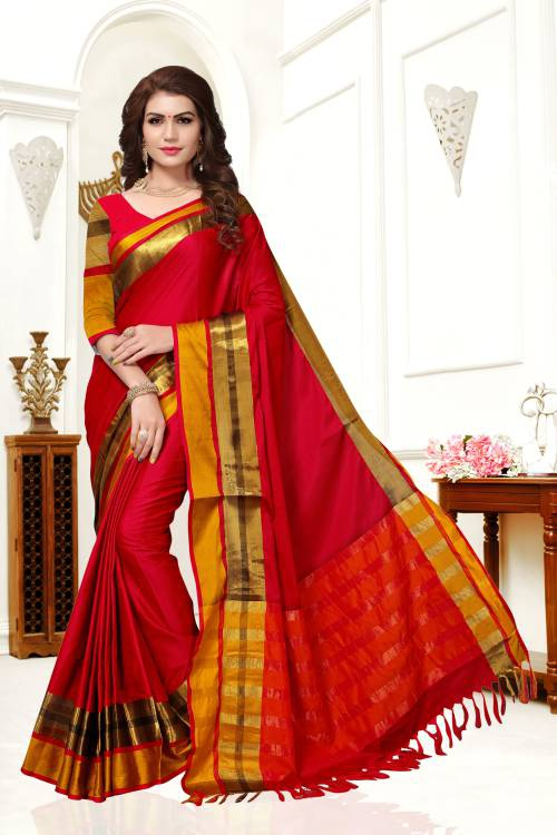 Craftsvilla Red Color Cotton Silk Zari Thread Work Traditional Saree With Unstitched Blouse Material