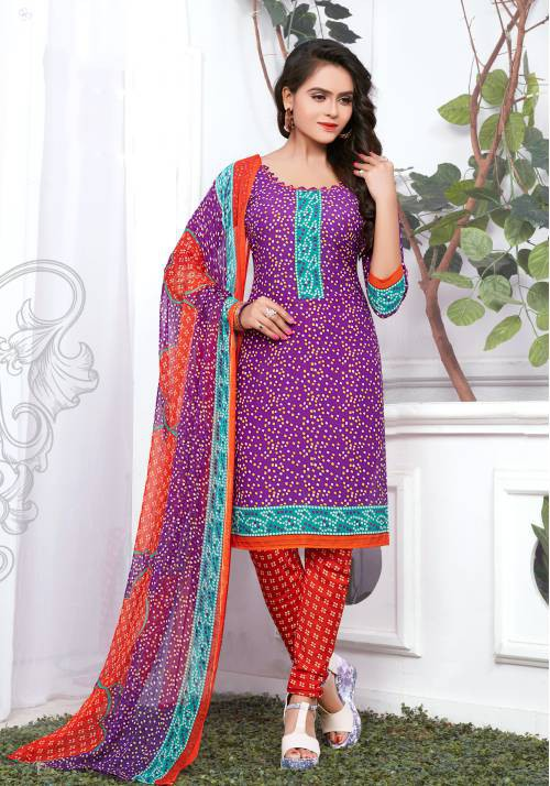 Purple Color Crepe Printed Unstitched Straight Suit