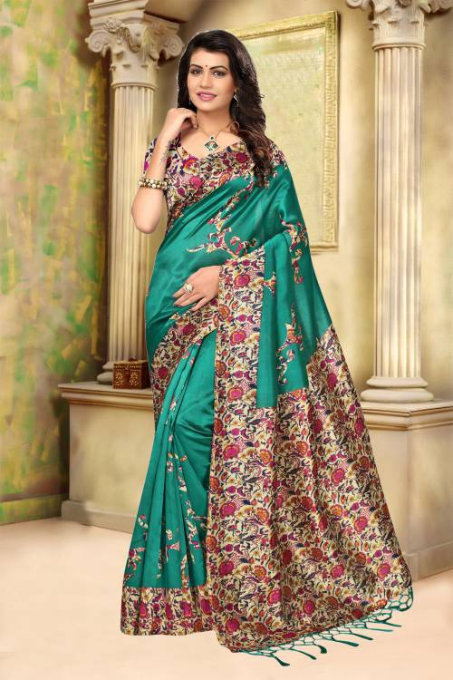 Craftsvilla Teal Green Color Mysore Silk Printed Partywear Saree With Unstitched Blouse Material